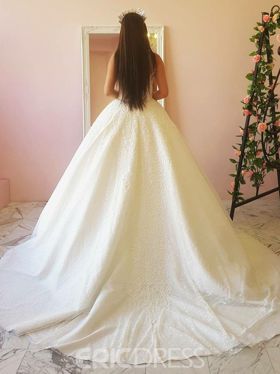Ericdress Straps Lace Ball Gown Wedding Dress 2019