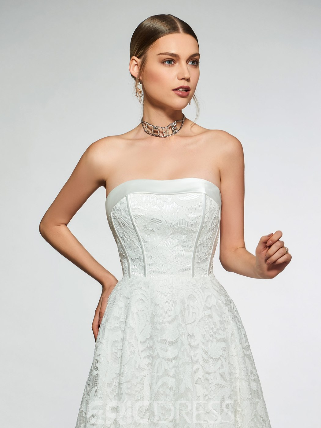 Ericdress Strapless Lace-Up Lace Beach Wedding Dress
