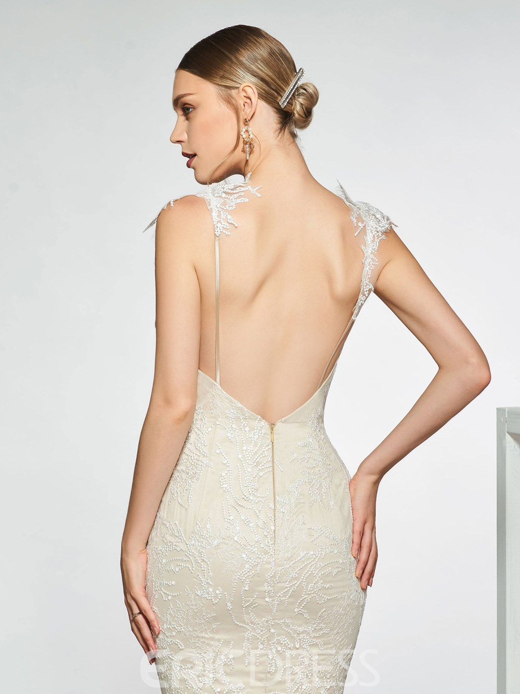Ericdress Straps Mermaid Backless Lace Wedding Dress