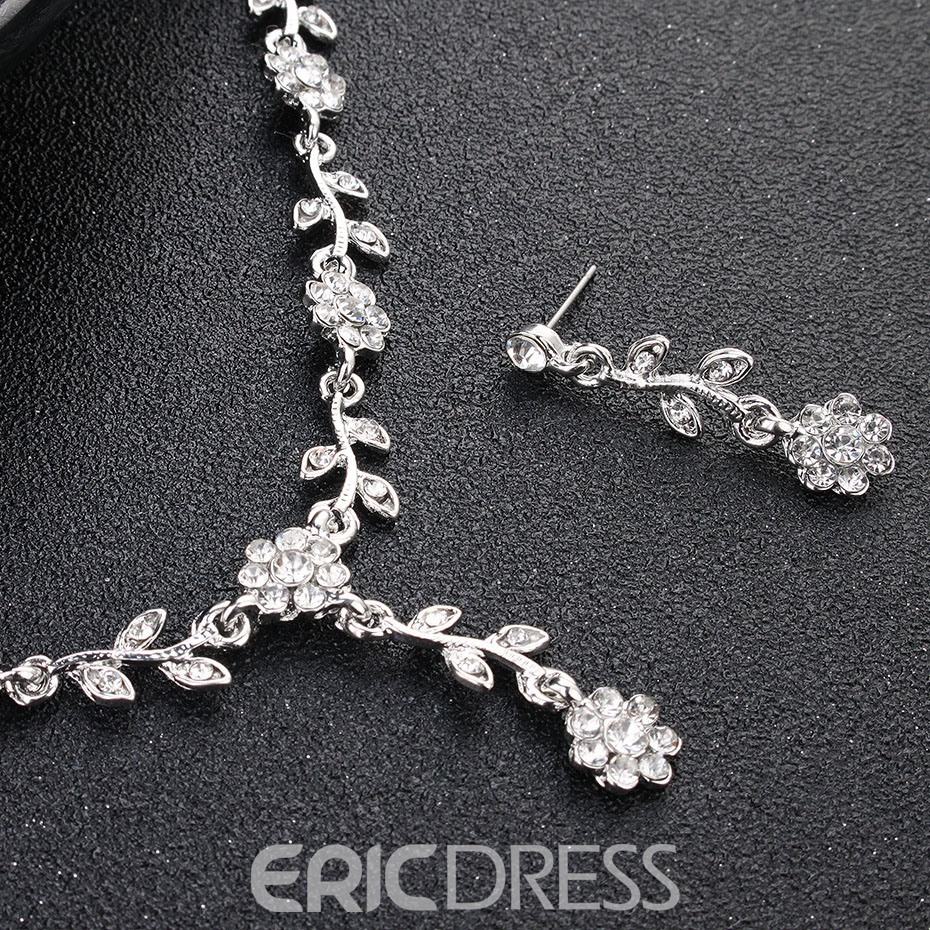 Floral Gemmed Necklace Jewelry Sets (Wedding)