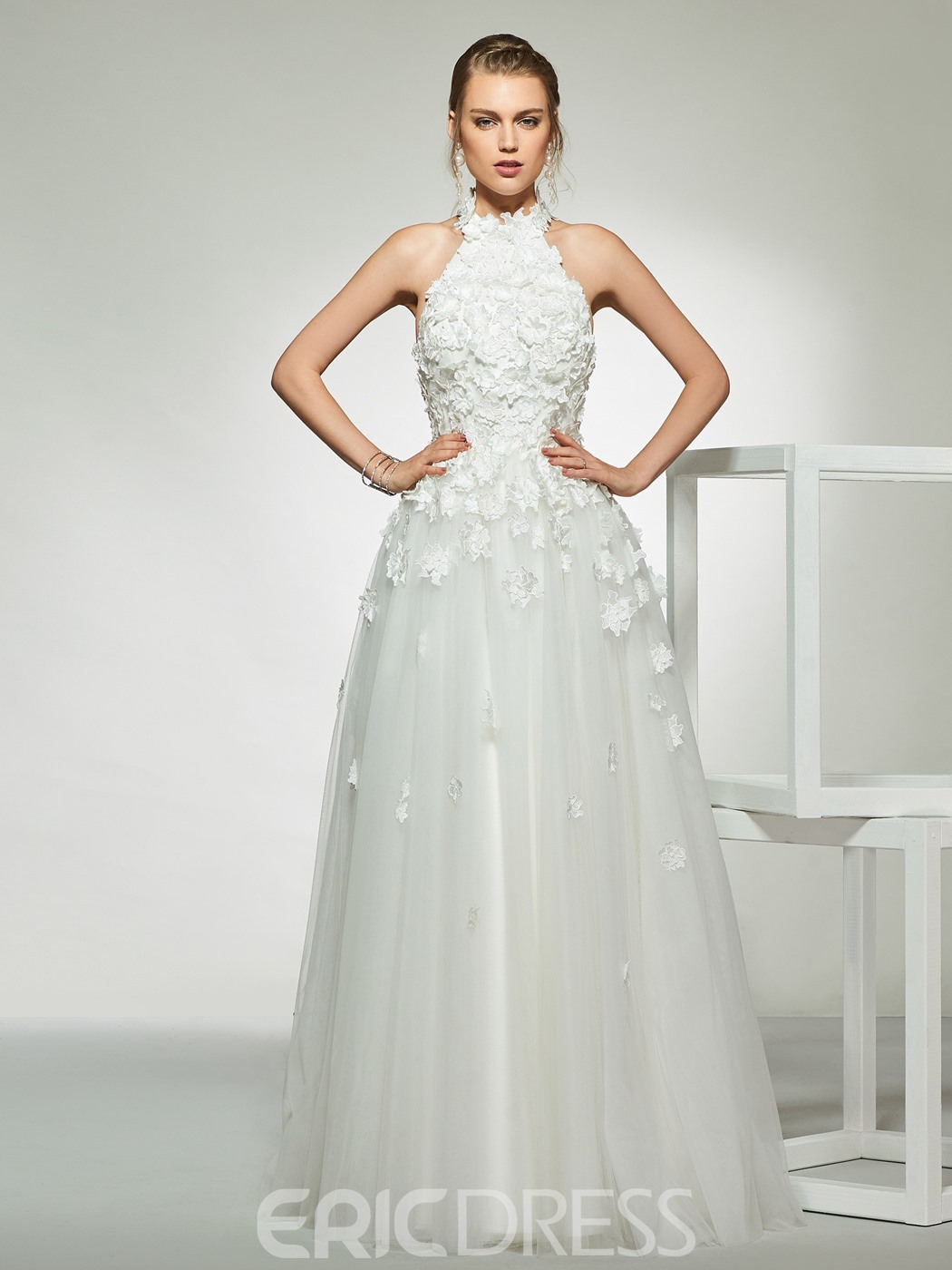 Ericdress Halter Flowers Appliques Wedding Dress