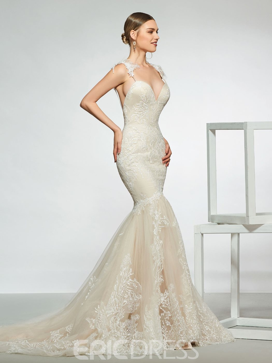 Ericdress Straps Mermaid Backless Lace Wedding Dress 2019