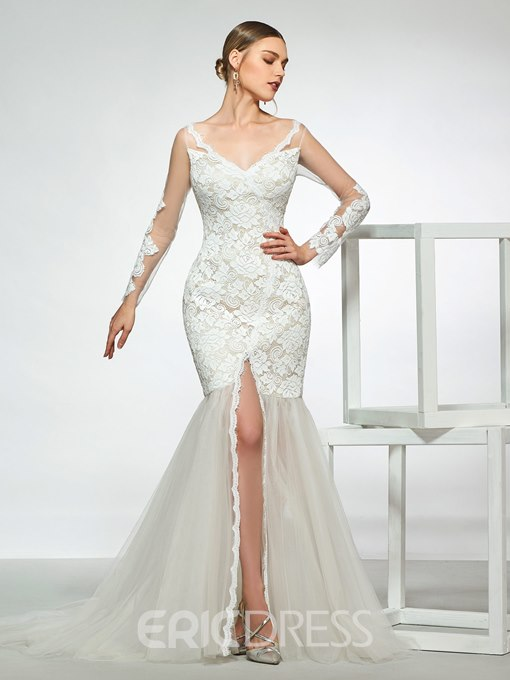 Ericdress Long Sleeves V-Neck Lace Mermaid Wedding Dress 2019