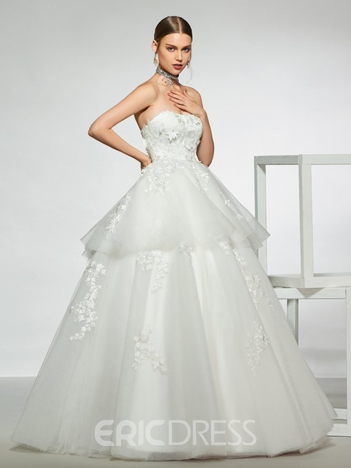 Ericdress Ball Gown Strapless Tiered Appliques Wedding Dress