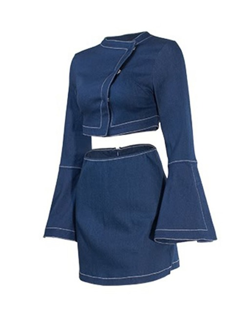 Ericdress Plain Denim Bodycon Skinny T-Shirt And Skirt Two Piece Sets