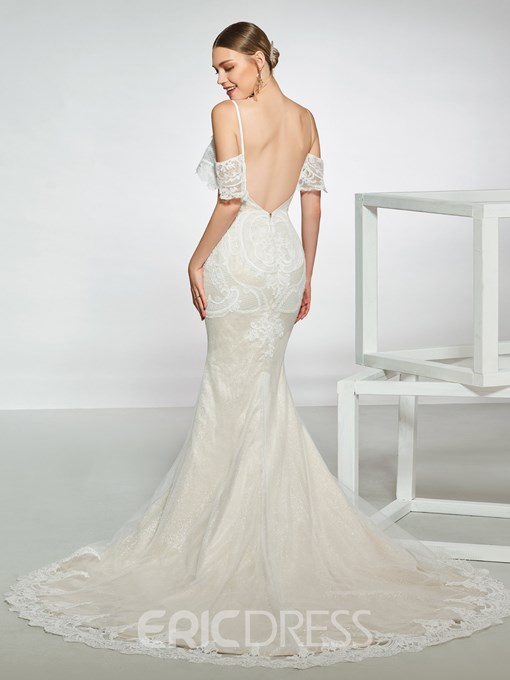 Ericdress Spaghetti Straps Lace Backless Mermaid Wedding Dress 2019