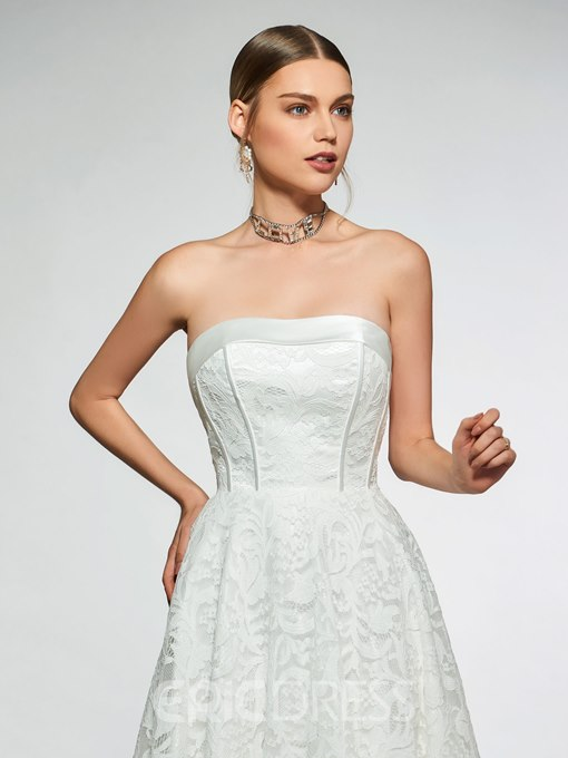 Ericdress Strapless Lace-Up Lace Beach Wedding Dress 2019