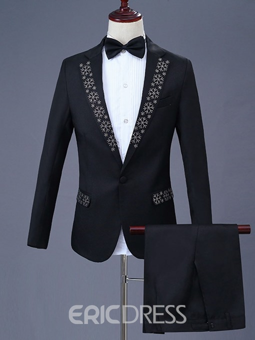 Ericdress One Button Diamond Blazer & Pants Mens Party Dress Suit