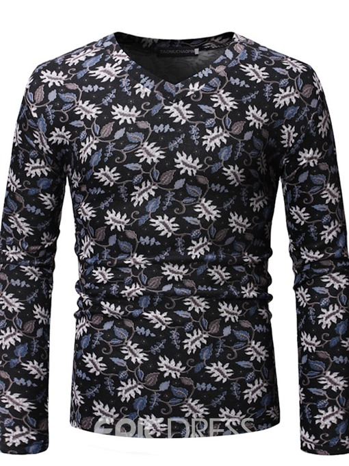 Ericdress Floral Printed V-Neck Mens Casual T-shirt