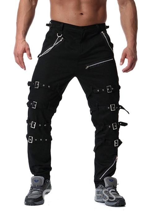 Ericdress Plain Mid Waist Lace-Up Mens Casual Pants