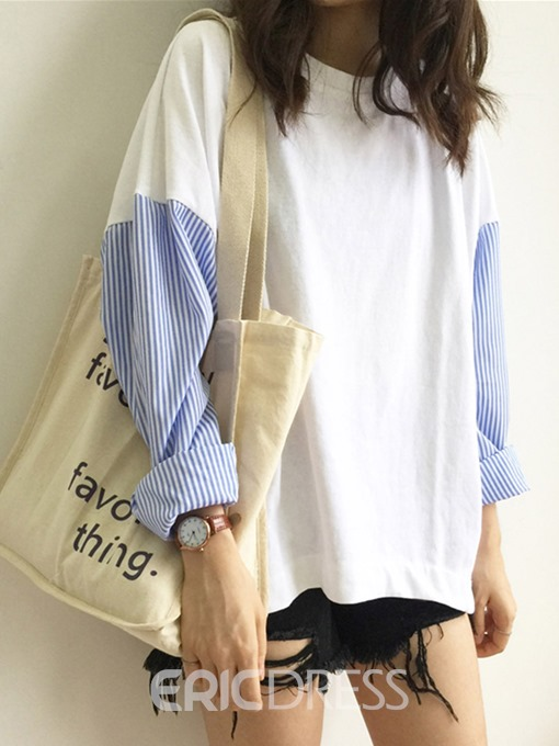 Ericdress Mid-Length Stripe Patchwork Loose Simple T-Shirt