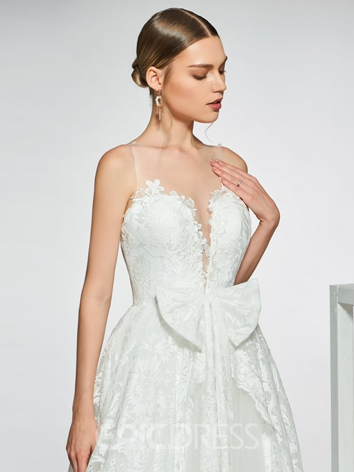 Ericdress Illusion Neck Bowknot Lace Wedding Dress 2019