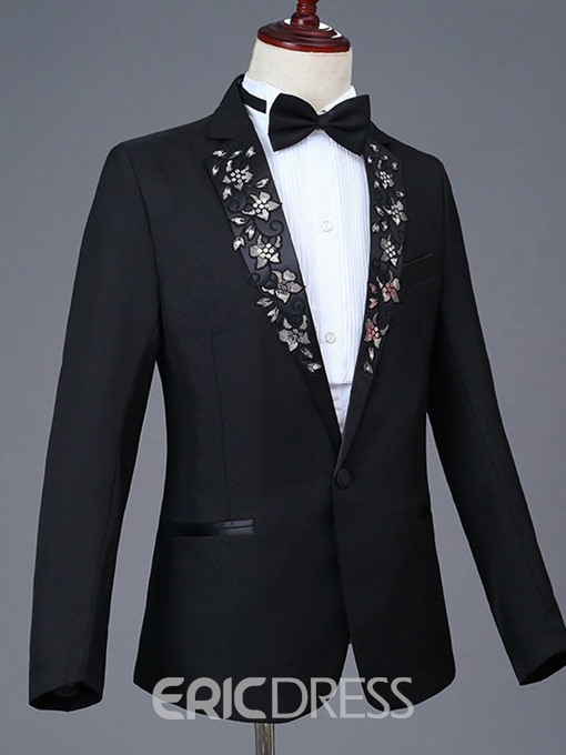 Ericdress Floral Embroidery Notched Lapel Mens Casual Party Dress Suit