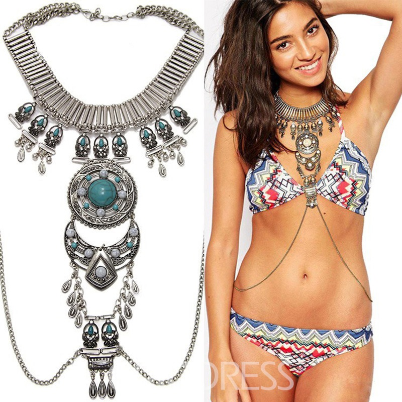 Ericdress Alloy Turquoise Body Chain Necklaces