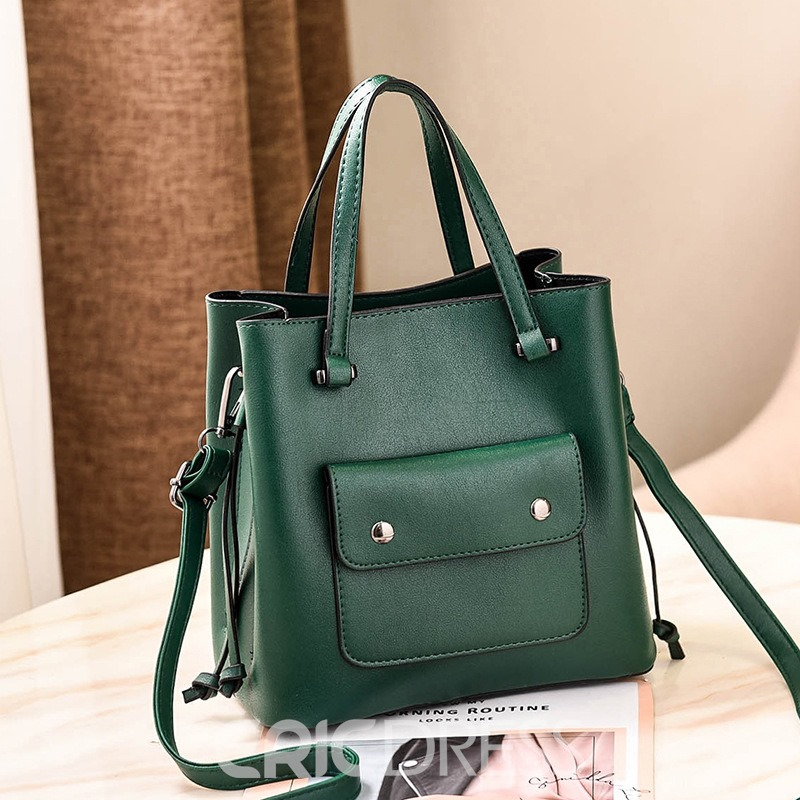 Ericdress PU Plain Barrel-Shaped Tote Bags