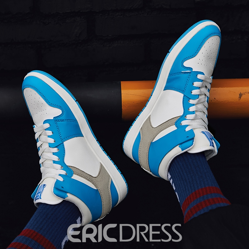 Ericdress Patchwork Lace-Up Round Toe Men's Skate Shoes