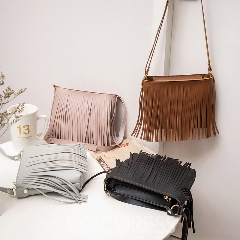 Ericdress Plain PU Tassel Square Shoulder Bags