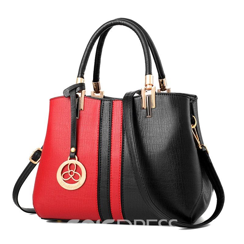 Ericdress Color Block PU Thread Tote Bags