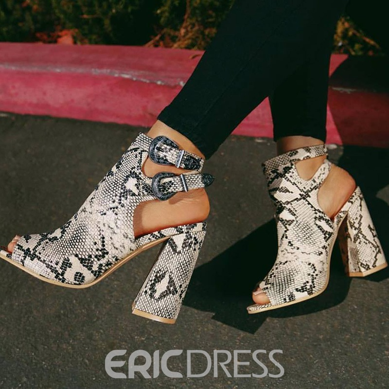 Ericdress Serpentine Peep Toe Buckle Chunky Heel Women's Sandals