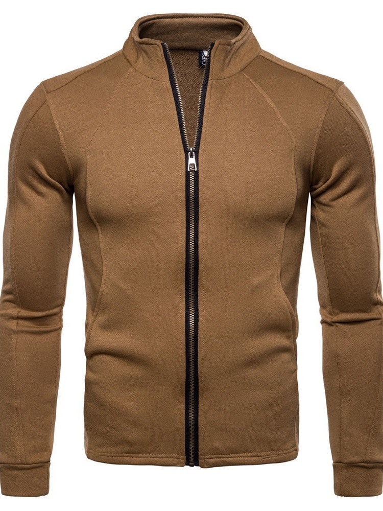 Ericdress Plain Zipper Mens Casual Cardigan Hoodies