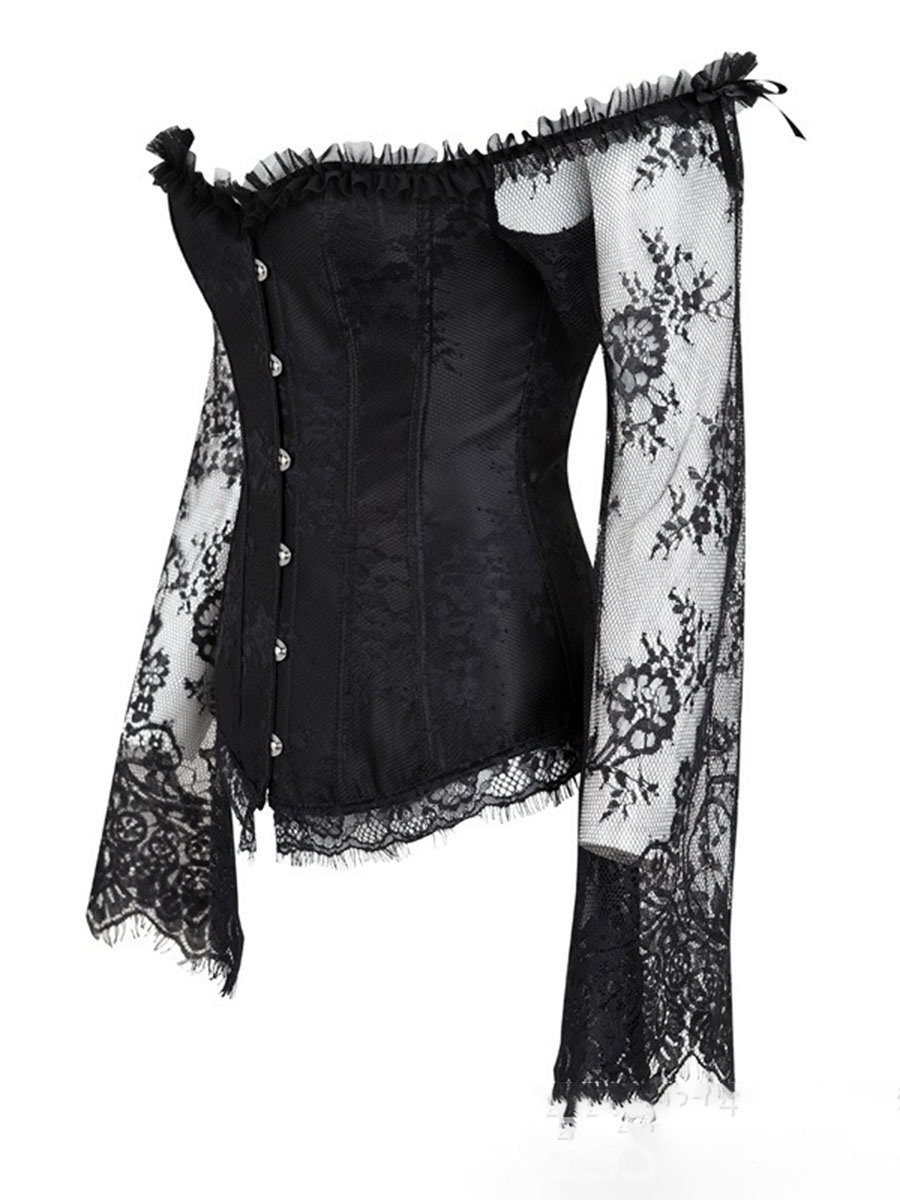 Ericdress Hollow Lace Long Sleeve Plain Cincher Top Corsets