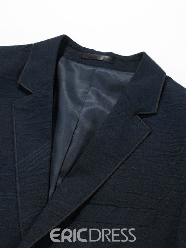 Ericdress Plain Single-Breasted Notched Lapel Mens Casual Blazer