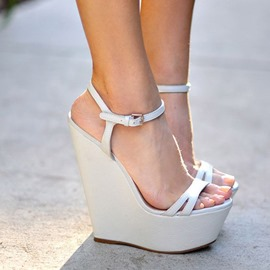 Ericdress Plain Ankle Strap Platform Wedge Heel Women's Sandals