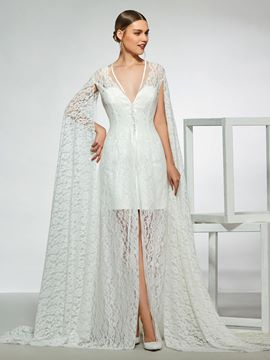 Ericdress Button Long Sleeves Sheath Lace Wedding Dress