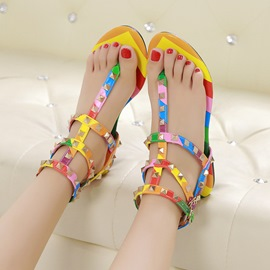 Ericdress Rivet Color Block Women's Flat Sandals
