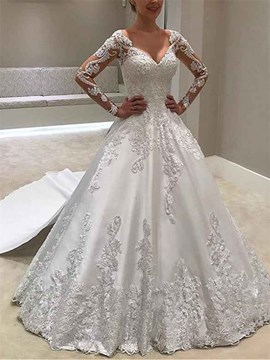 Ericdress Long Sleeves Appliques Wedding Dress with Train