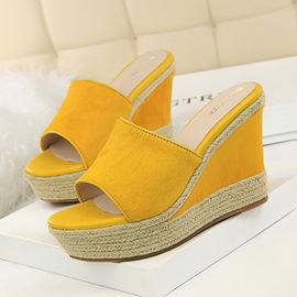 Ericdress PU Woven Wedge Heel Slip-On Women's Sandals