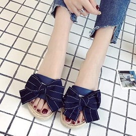 Ericdress Cloth Bow Flip Flop Women's Flat Sandals