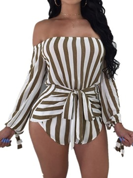Ericdress Shorts Striped Asymmetric Loose High Waist Romper