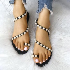 Ericdress PU Beads Slip-On Toe Ring Women's Flat Sandals
