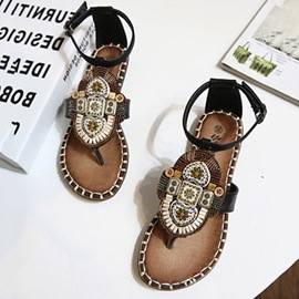 Ericdress Beads Thong Heel Covering Ethnic Women's Flat Sandals
