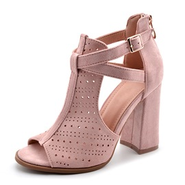 Ericdress Faux Suede Hollow Peep Toe Zipper Chunky Heel Women's Sandals