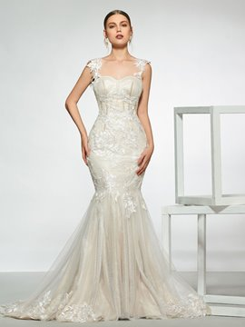 Straps Appliques Backless Mermaid Wedding Dress 2019