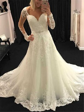 Ericdress Beading Sweetheart Long Sleeve Wedding Dress 2019