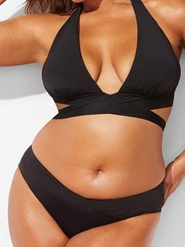Ericdress Beach Look Plain Plus Size Swimwear