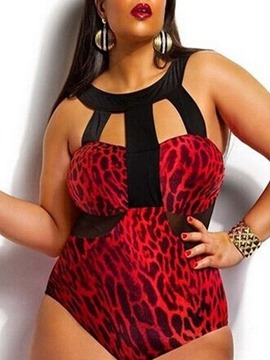 Ericdress Print Plus Size Beach Look Swimwear
