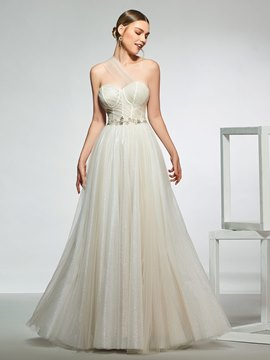 One Shoulder Beading Hall Wedding Dress 2019