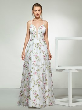 Ericdress Spaghetti Straps Appliques Print Wedding Dress