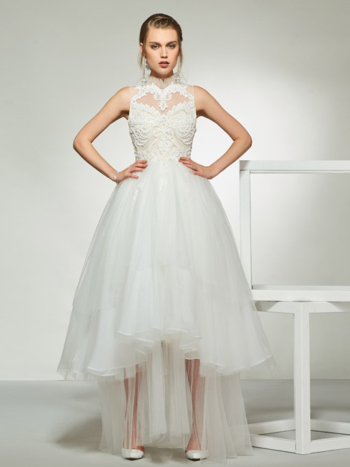 Ericdress High Neck Appliques Beach Wedding Dress