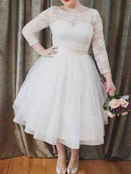 Ericdress Ball Gown 3/4 Length Sleeves Lace Wedding Dress 2020
