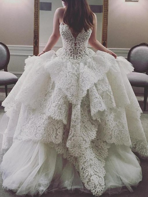 Ericdress Ball Gown Tiered Lace Wedding Dress