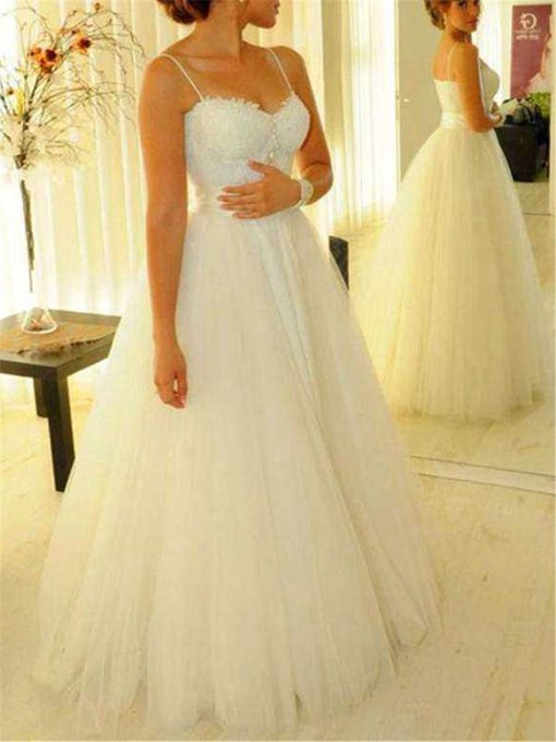 Ericdress Sleeveless Appliques Floor-Length Ball Gown Beach Wedding Dress