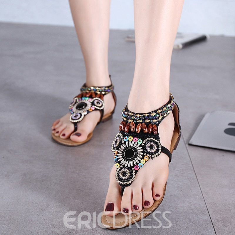 Ericdress Thong Heel Covering Zipper Women's Flat Sandals