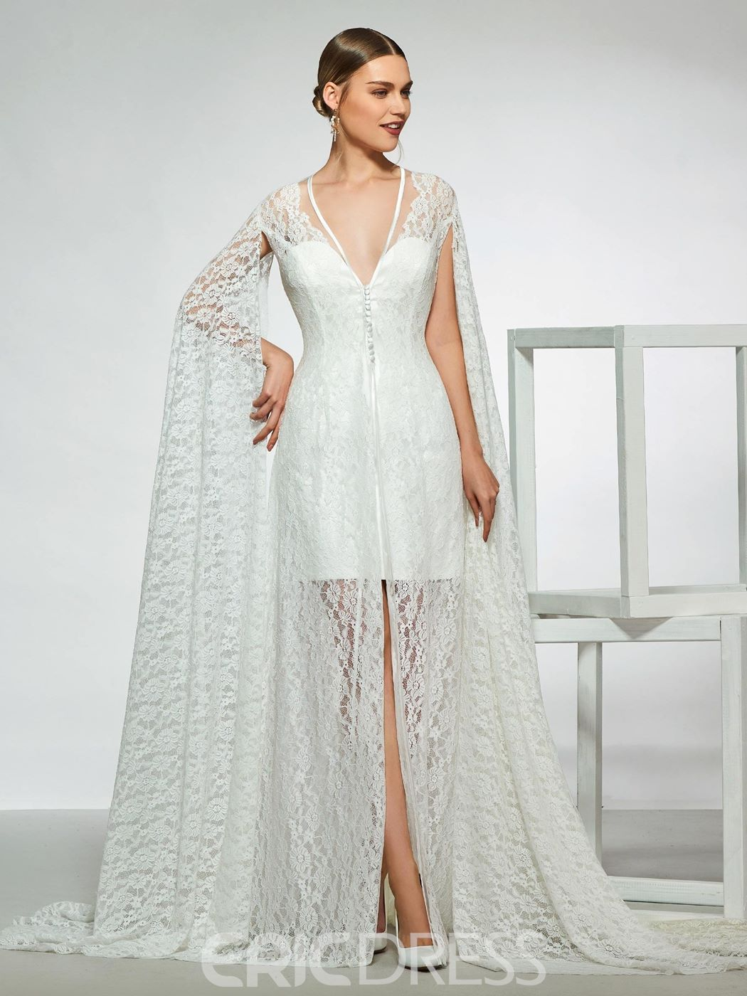 5760b2a7 Ericdress V-Neck Button Long Sleeves Sheath Wedding Dress 2019(13773487)