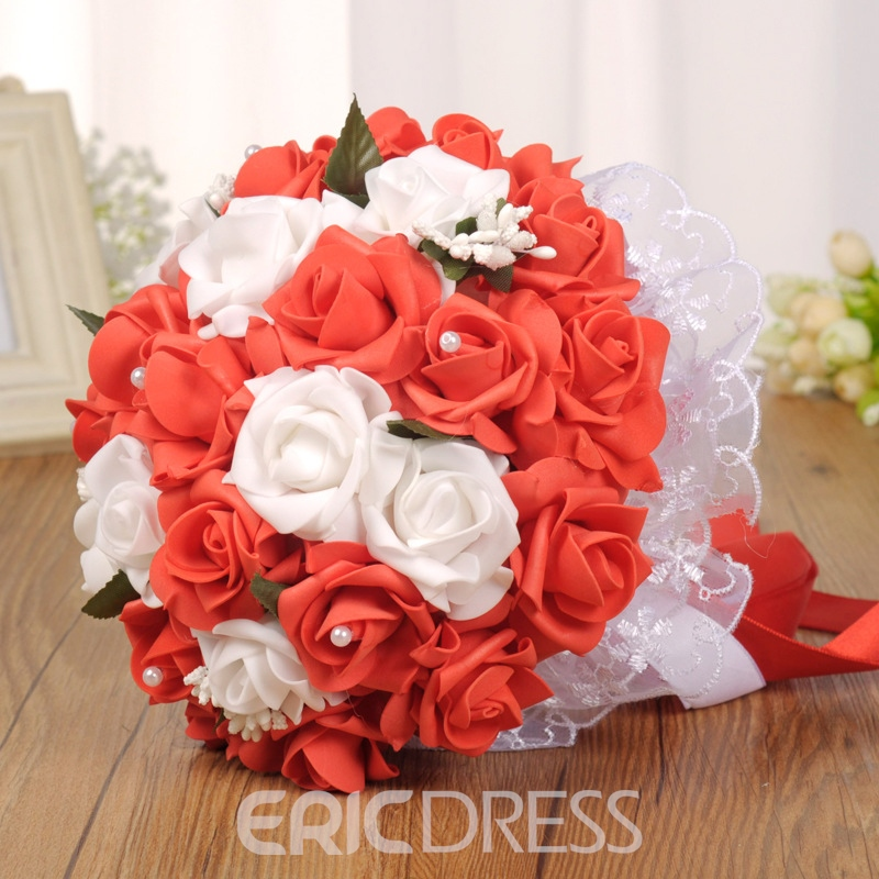 European Lace Pearls Rose Wedding Bouquet