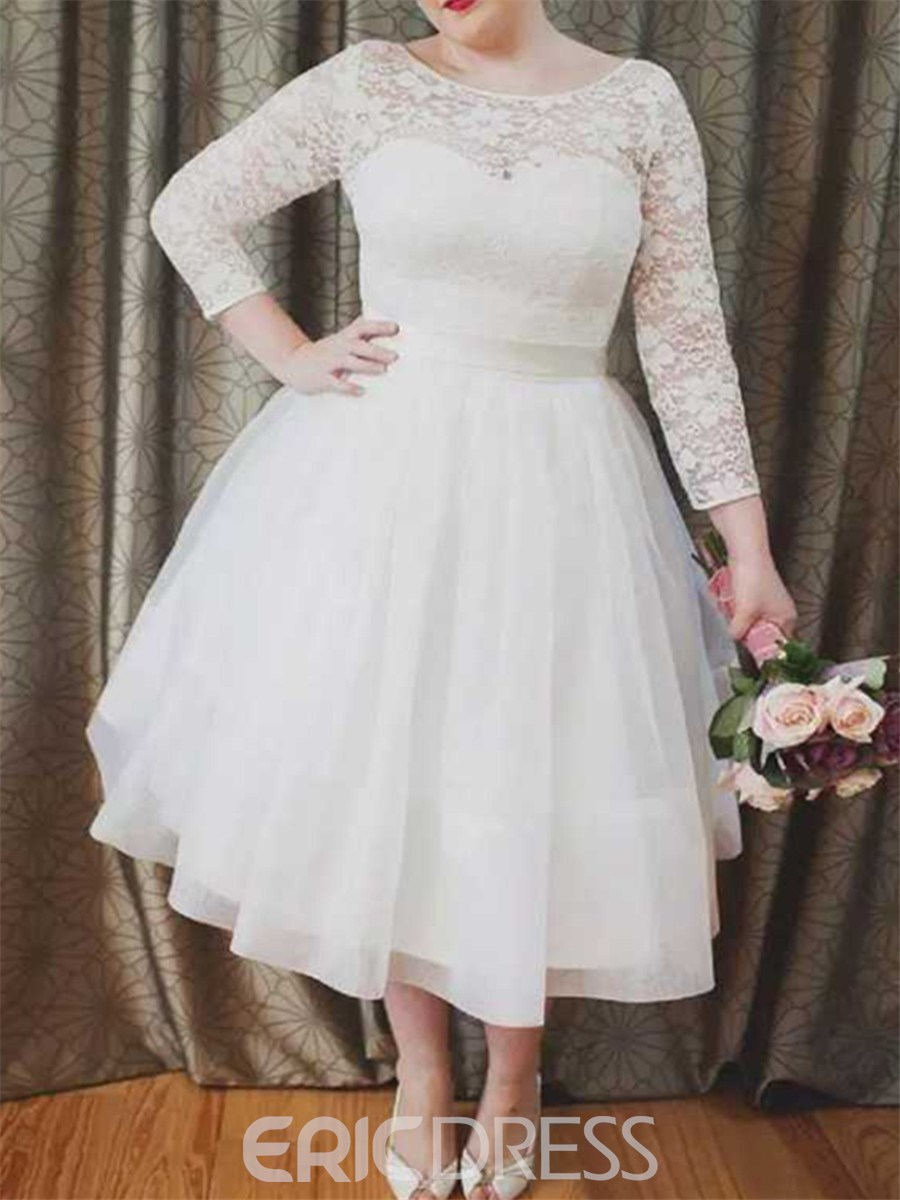 Ericdress Ball Gown 3/4 Length Sleeves Lace Wedding Dress